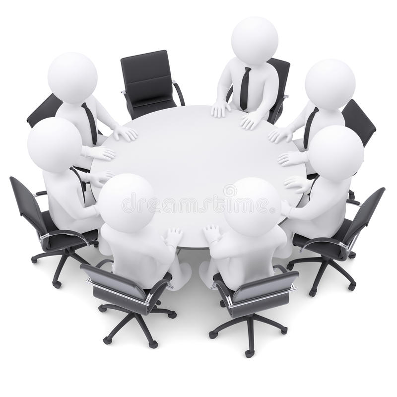 3d人们在圆桌上。一把椅子是空的 皇族释放例证