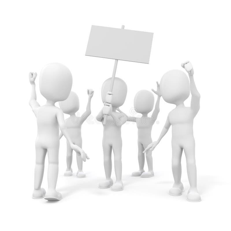 3d人-小组抗议的人民 向量例证