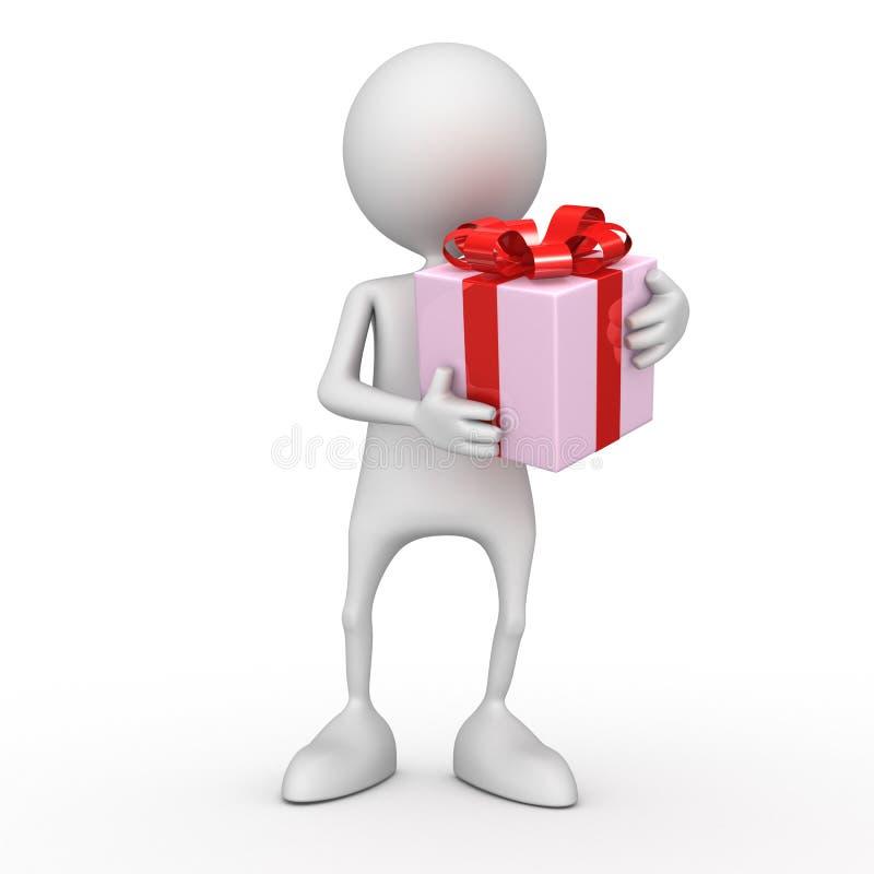 3d人负担一个红色箱子-礼物 免版税库存图片