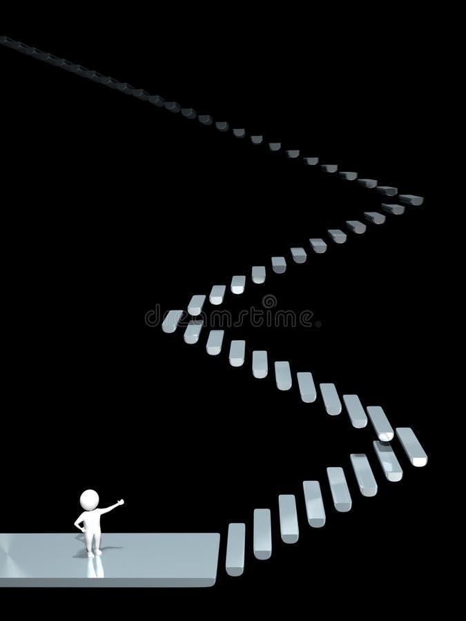 3D人-楼梯-朦胧 向量例证