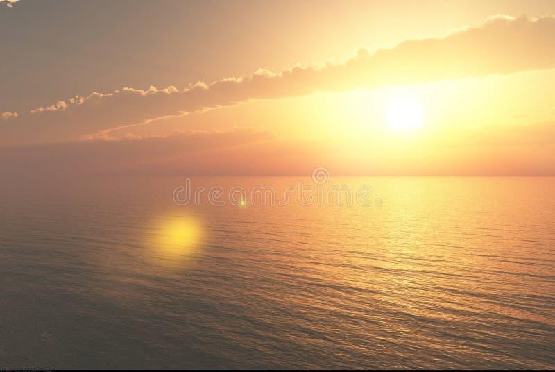3D从日落的翻译在有一些透镜的海洋在前景飘动 库存例证