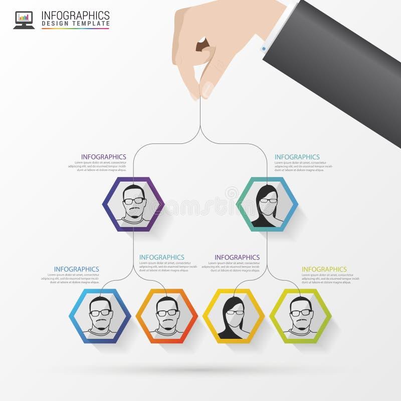 3d企业照片回报了结构 组织系统图 Infographic设计 向量 向量例证