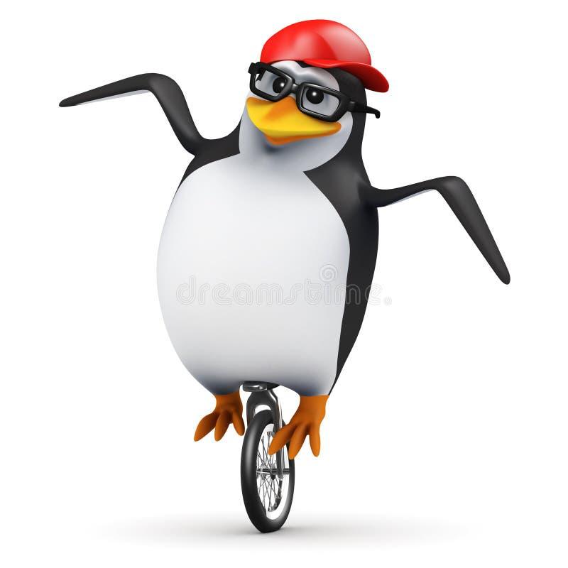 3d企鹅单轮脚踏车 向量例证