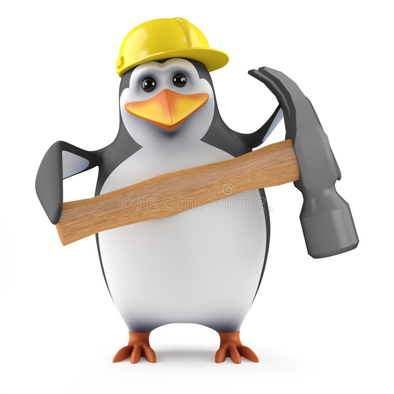3d企鹅有一把锤子 库存例证