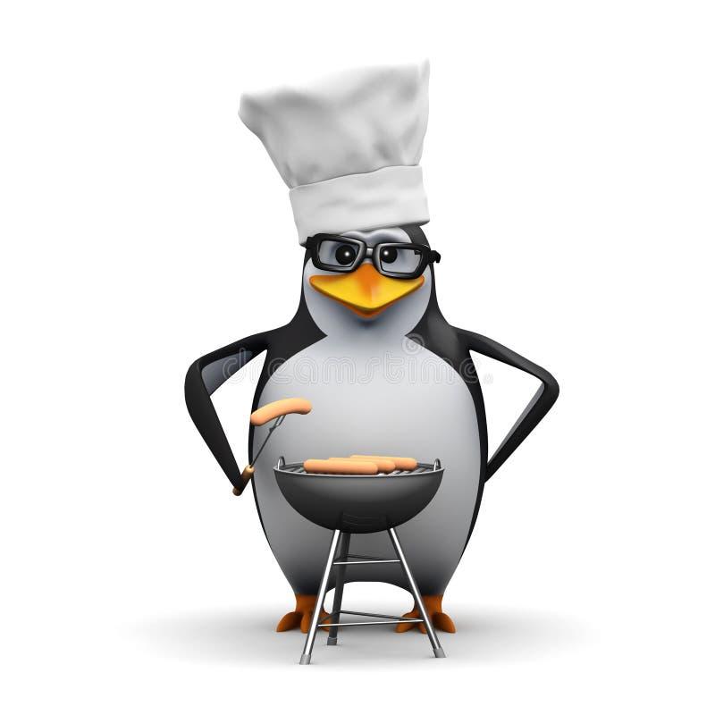 3d企鹅烹调一串烤肉 皇族释放例证