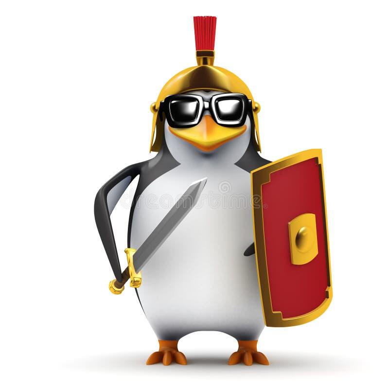 3d企鹅百人队队长 向量例证