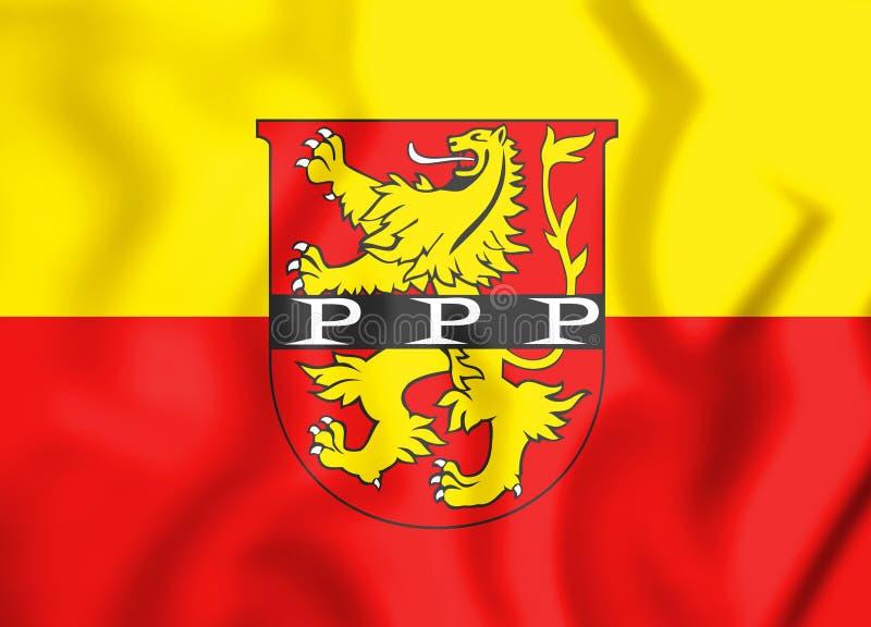 3D伊莱尔蒂森巴伐利亚,德国的旗子 库存例证