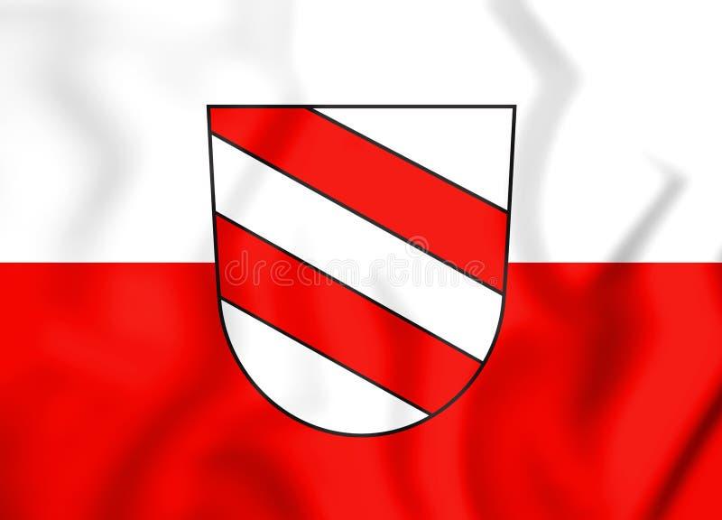 3D伊萨尔河畔兰道巴伐利亚,德国的旗子 皇族释放例证