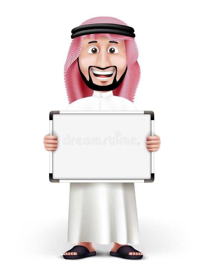 3D传统礼服的英俊的沙特阿拉伯人 库存例证