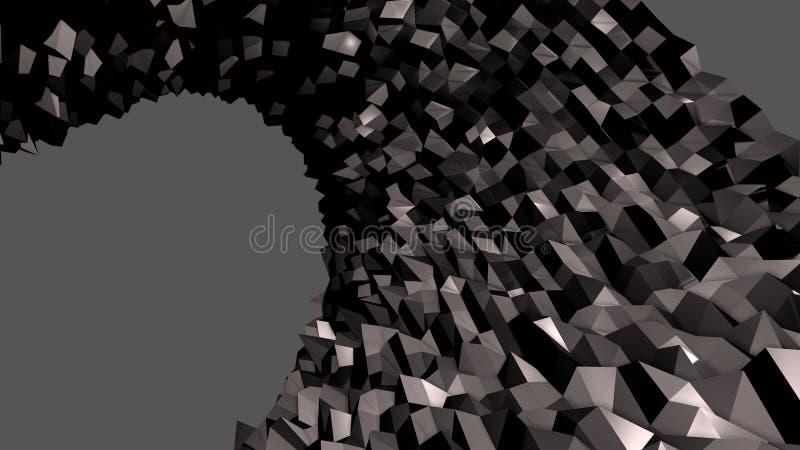 3d低多抽象几何背景 3d表面与黑色4 库存例证