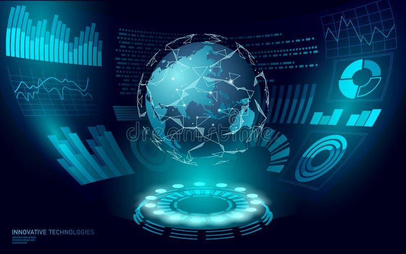 3D低多行星地球虚拟现实HUD UI显示 未来技术多角形全球性国际通信 皇族释放例证