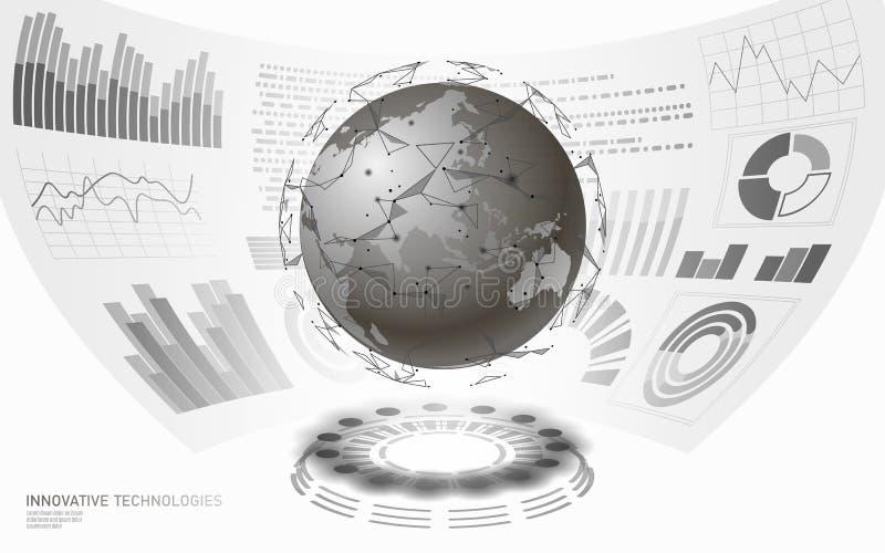3D低多行星地球虚拟现实HUD UI显示 未来技术多角形全球性国际通信 库存例证