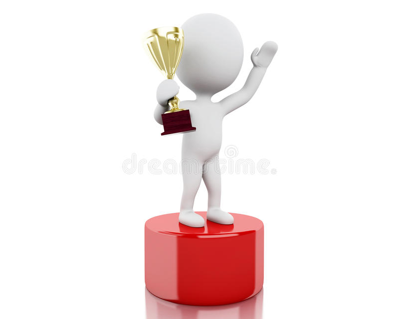3d体育指挥台的白人优胜者有战利品的 向量例证