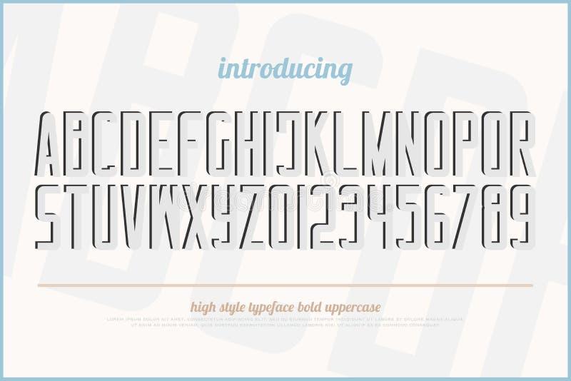 3d作用样式字母表信件和数字 向量例证