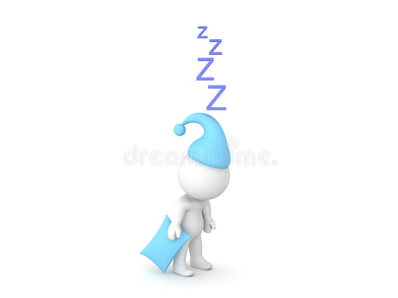 3D佩带有睡着的直立的东西的蓝色睡帽的字符 库存例证