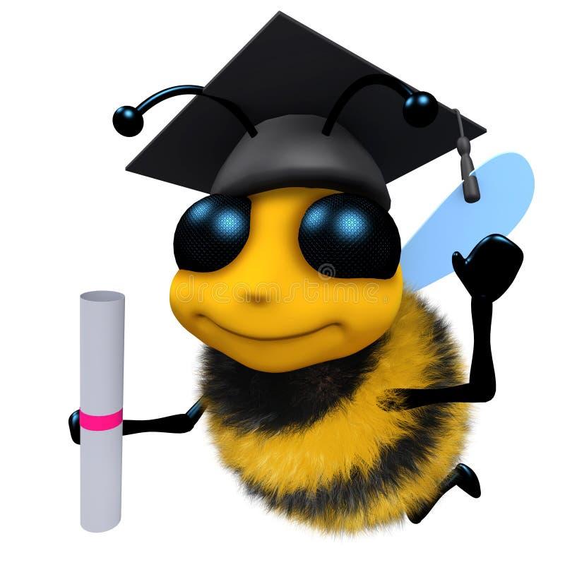 3d佩带灰浆板和拿着文凭的滑稽的动画片蜂蜜蜂字符 向量例证