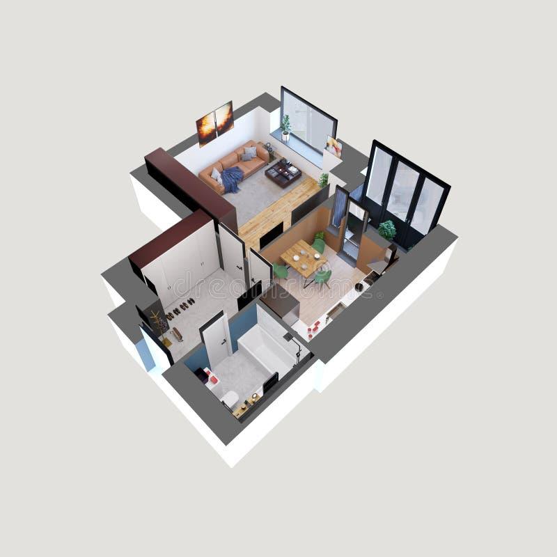 3d使一栋现代五颜六色的一栋卧室公寓的计划和布局,等量 皇族释放例证
