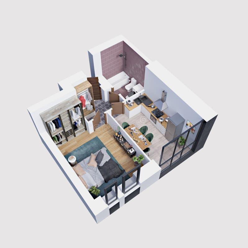 3d使一栋现代公寓的计划和布局,等量 皇族释放例证