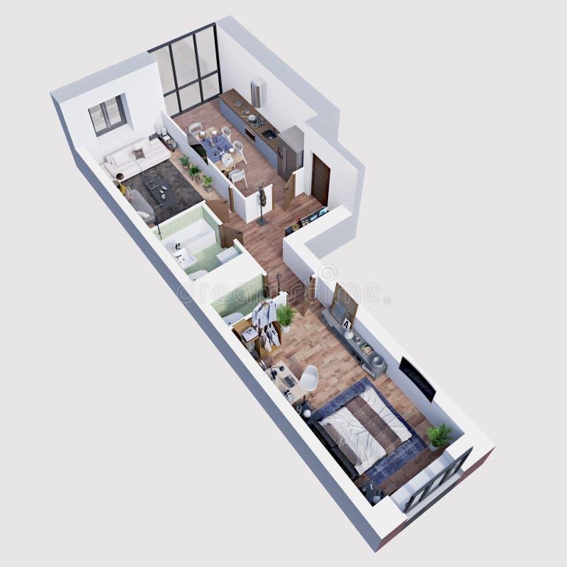 3d使一栋现代公寓的计划和布局,等量 向量例证