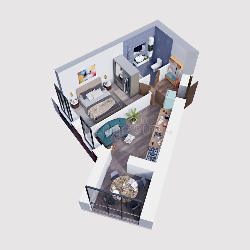3d使一栋现代公寓的计划和布局,等量 库存例证