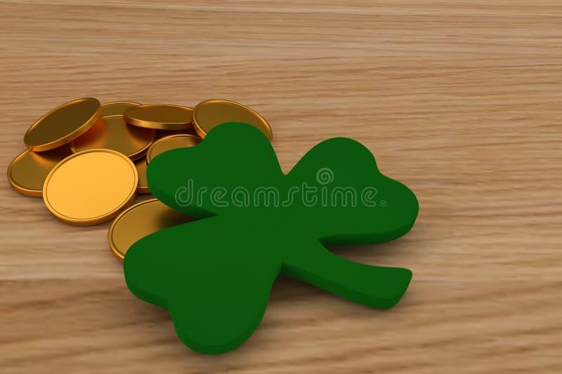 3d使在桌上的金黄硬币木,接近三叶草 圣帕特里克& x27的庆祝;s天 皇族释放例证