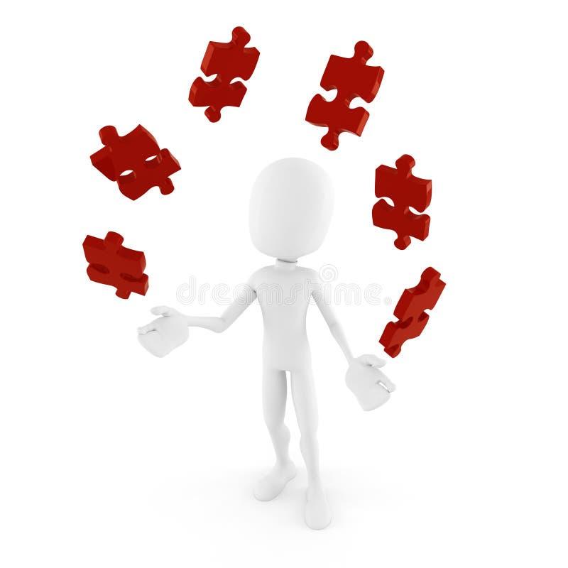 3d使用与难题片断的人 向量例证