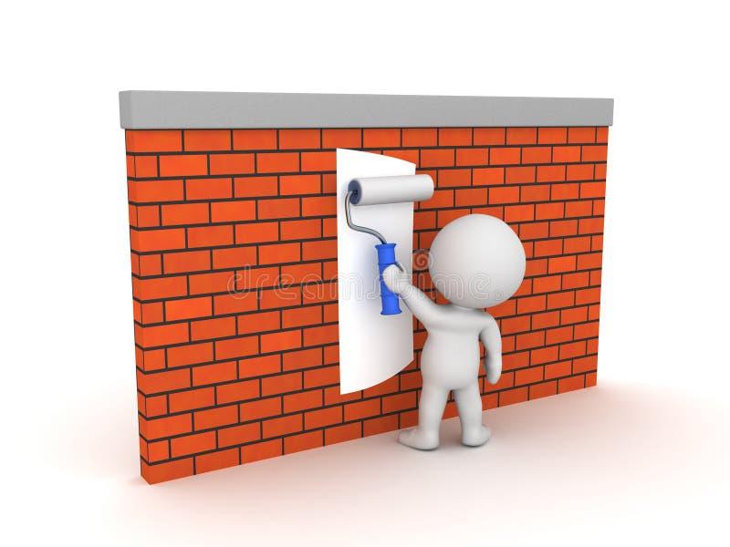 3D使用在砖墙上的画家画家路辗 向量例证
