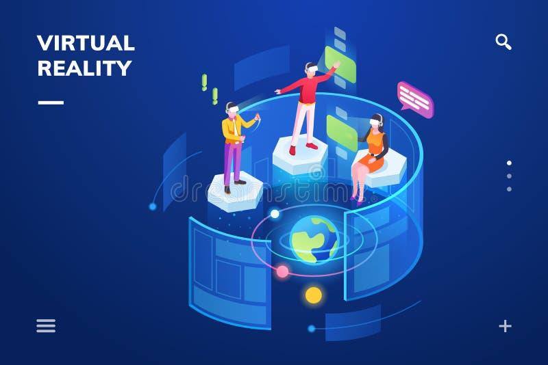 3d使用虚拟现实或VR的人们 库存例证