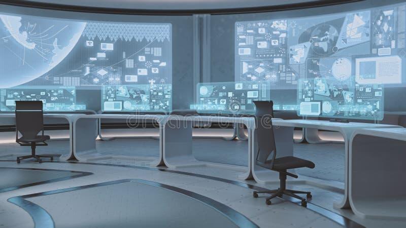 3D使空,现代,未来派指挥中心内部 皇族释放例证
