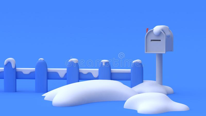3d使邮箱篱芭许多雪抽象最小的动画片样式蓝色背景蓝色场面自然冬天概念 向量例证