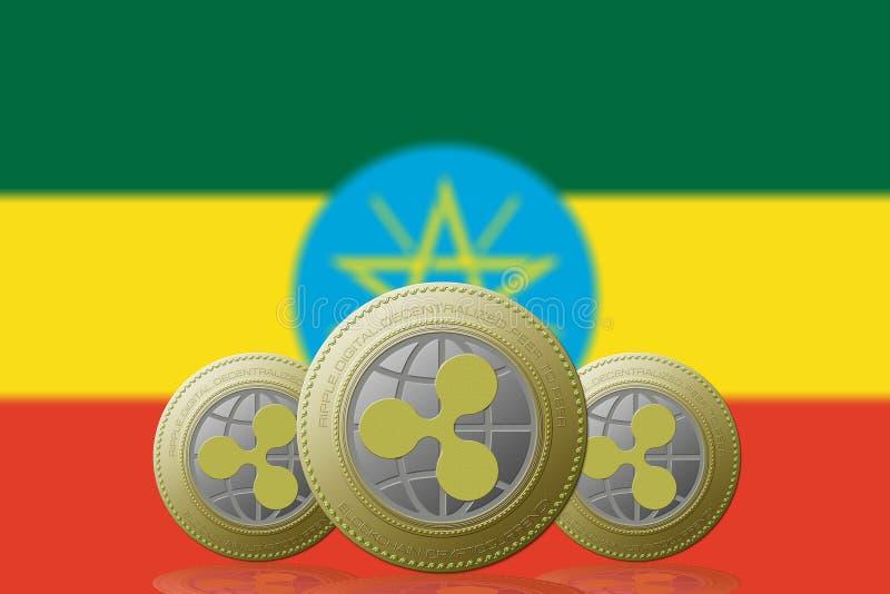 3D例证三与埃塞俄比亚旗子的波纹cryptocurrency在背景 库存例证