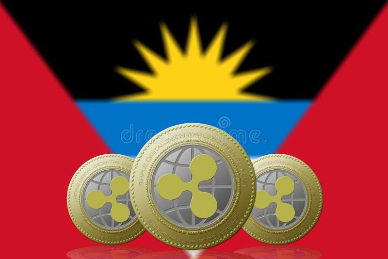 3D例证三与安提瓜y巴布达旗子的波纹cryptocurrency在背景 向量例证