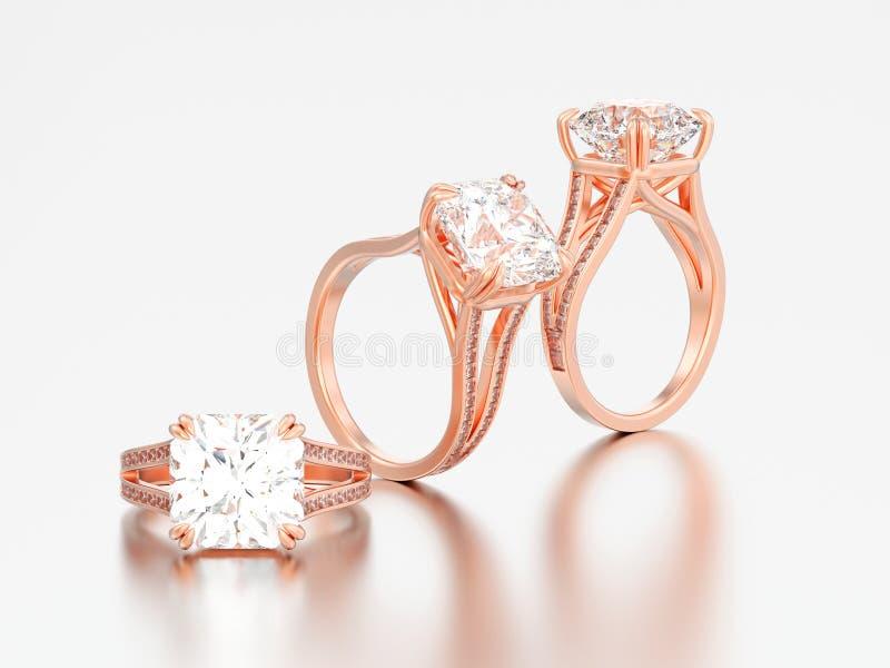 3D例证三玫瑰色金子订婚钻戒 向量例证