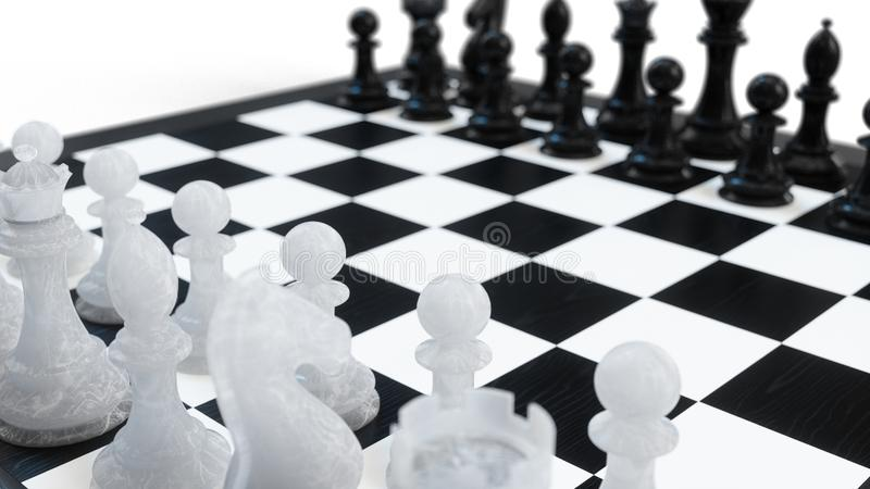 3D例证下棋比赛在船上 概念企业想法和战略想法 在白色背景的棋形象 库存例证