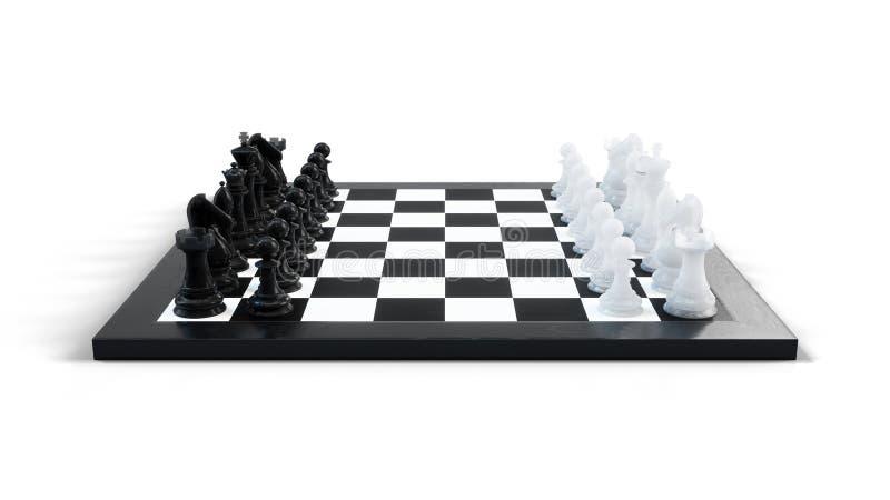 3D例证下棋比赛在船上 概念企业想法和战略想法 在白色背景的棋形象 向量例证