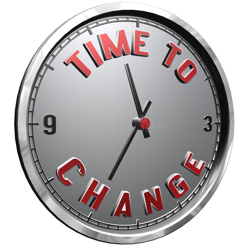 3D例证与文本时间的时钟表盘改变 向量例证