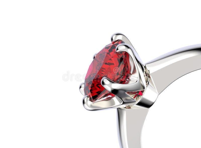 3D例证与石榴石宝石的金戒指 首饰backgrou 皇族释放例证