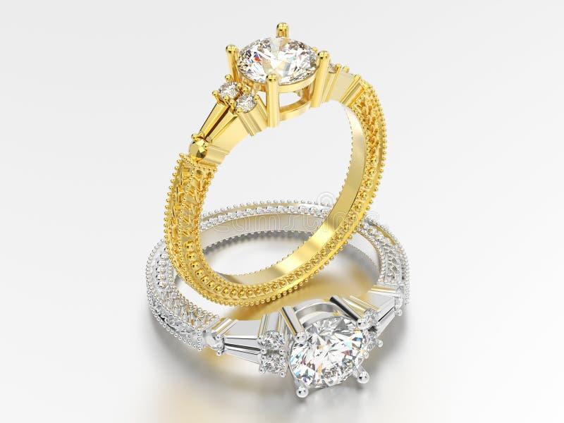 3D例证两黄色和人造白金或银色装饰d 皇族释放例证