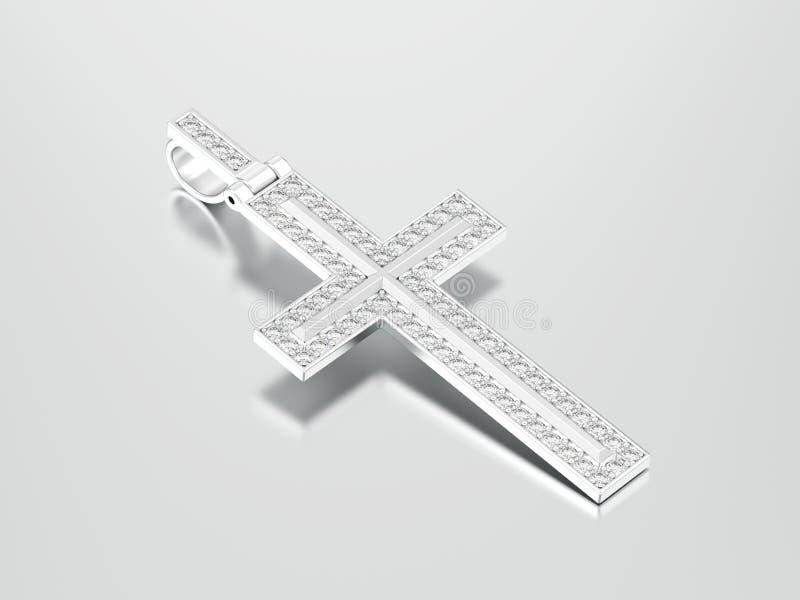 3D例证人造白金或银色装饰金刚石十字架pe 皇族释放例证