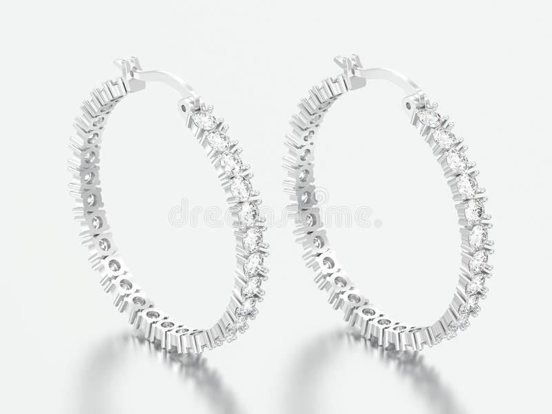 3D例证人造白金或银色装饰金刚石耳环 库存照片