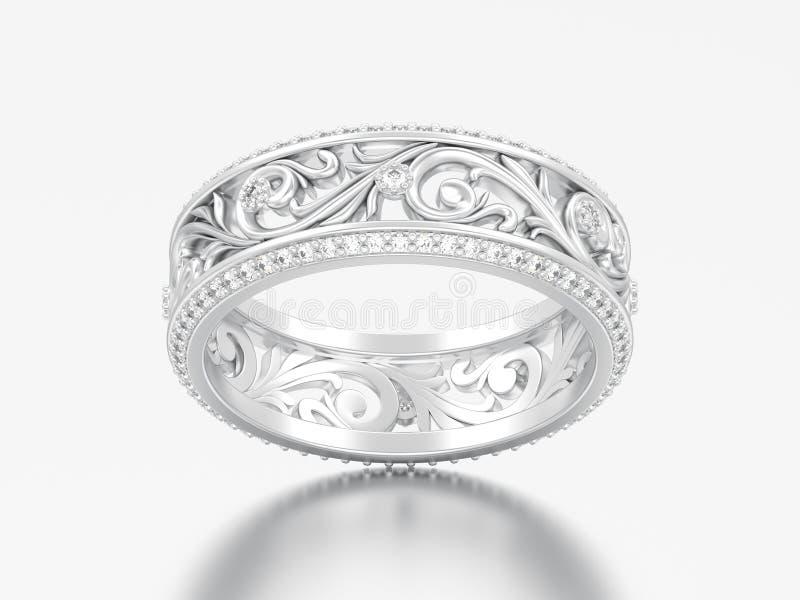 3D例证人造白金或银订婚婚礼乐队rin 皇族释放例证