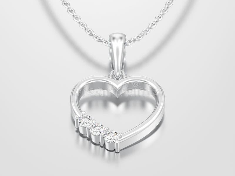 3D例证人造白金或银金刚石在c的心脏项链 库存例证