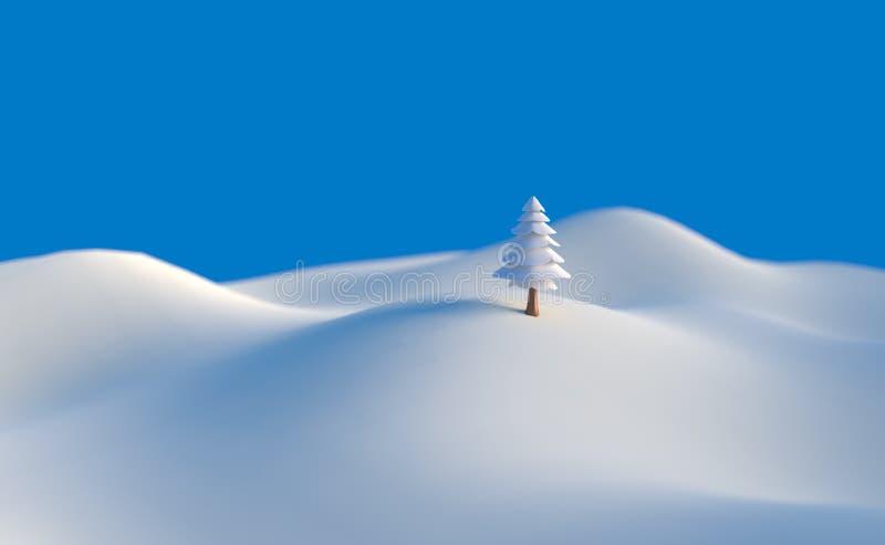 3d例证冬天树低多圣诞节场面背景 免版税库存照片