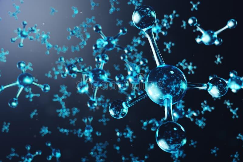 3D例证分子结构 E 科学背景为 库存例证