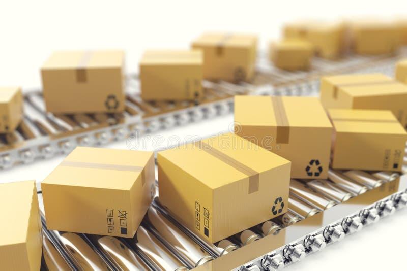 3D例证包装交付,包装的服务并且打包运输系统概念,纸板箱  库存例证
