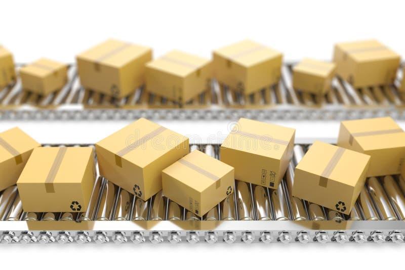 3D例证包装交付,包装的服务并且打包运输系统概念,纸板箱  向量例证