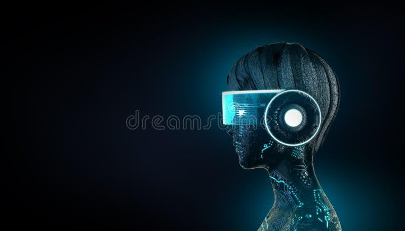 3d例证发光的vr耳机的靠机械装置维持生命的人女孩 人工智能机器学习,量子计算概念 向量例证