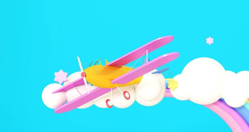 3d例证回报 在云彩的黄色飞机在蓝色背景 向量例证