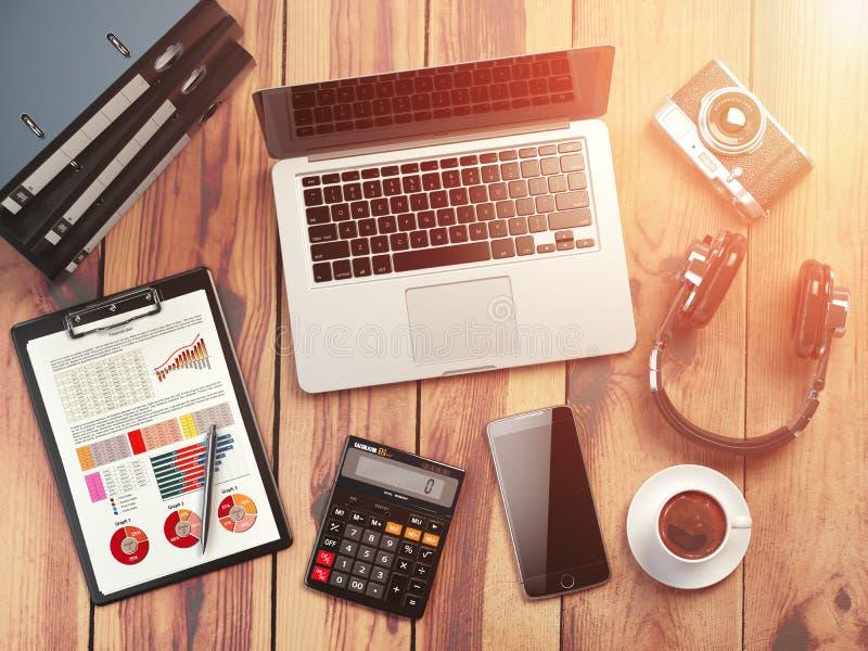 3d例证图象办公室工作场所 与膝上型计算机的木书桌背景,流动 库存例证