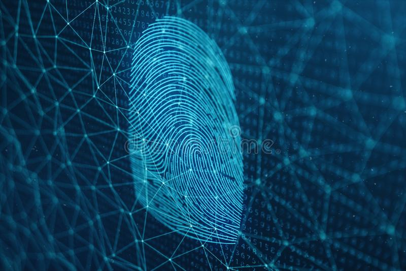 3D例证指纹扫描提供安全通入以生物测定学证明 概念指纹保护 向量例证
